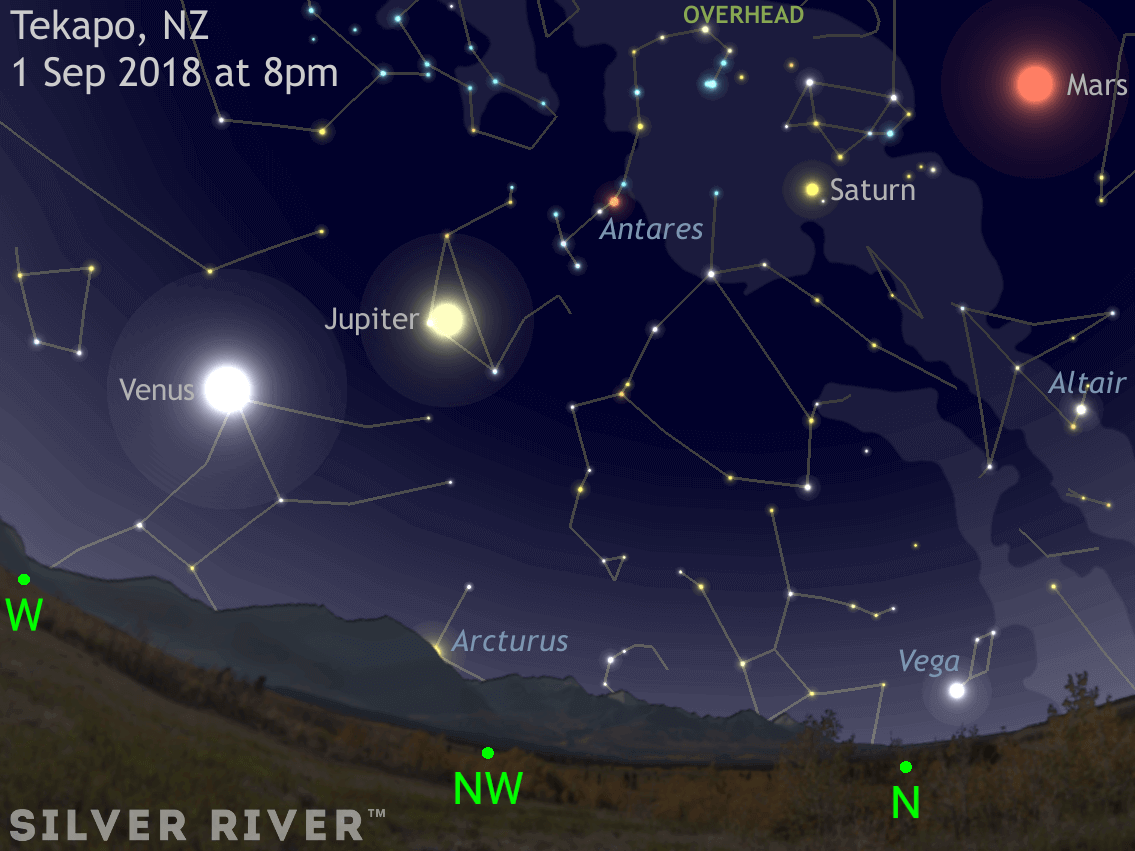 Find four planets in the late winter New Zealand sky Silver